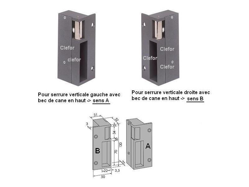 G che lectrique en applique pour serrure verticale - Penne de porte ...