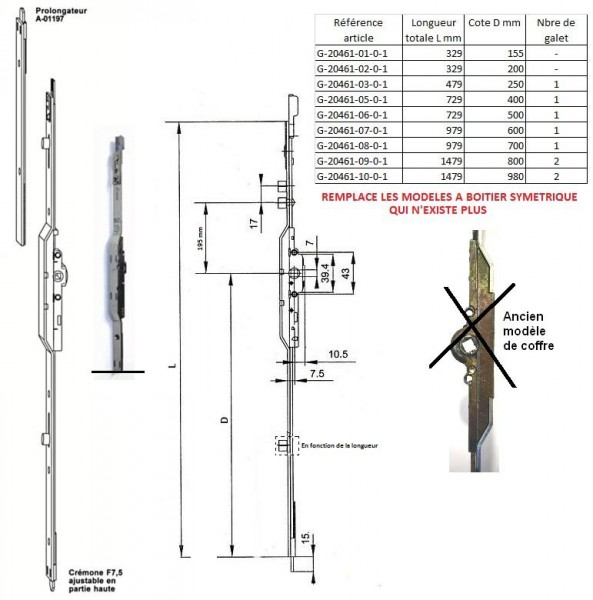 Cremone ferco jet 7 5 ajustable en haut quincaillerie clefor serrures cl s - Cremone roto porte fenetre ...