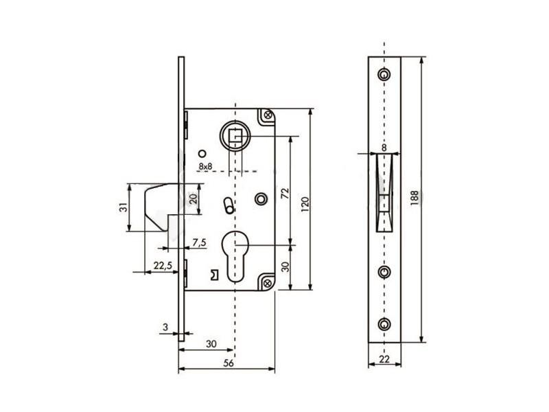 serrure encastr e a crochet pour coulissant quincaillerie clefor serrures cl s. Black Bedroom Furniture Sets. Home Design Ideas