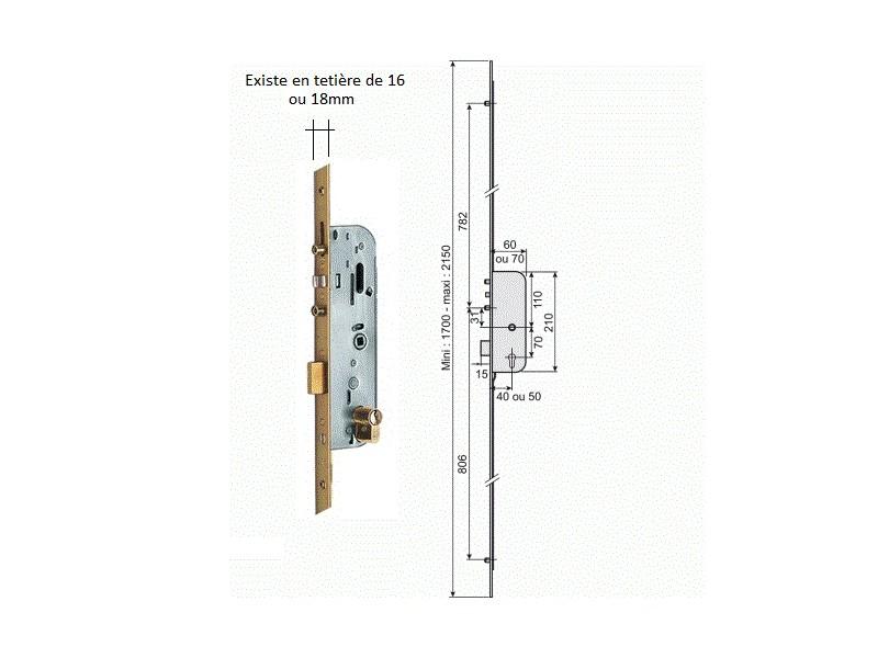 serrure vachette automatique 10215 teti re de 18mm quincaillerie clefor serrures cl s. Black Bedroom Furniture Sets. Home Design Ideas