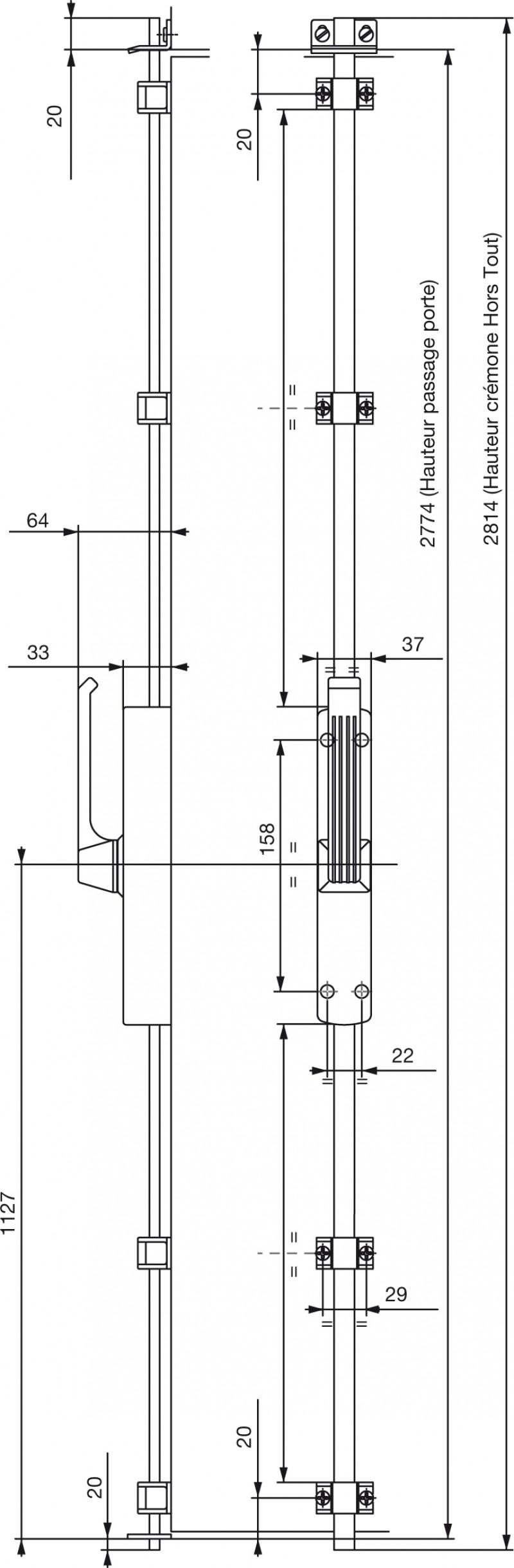 Cremone pompier poign e rotative vachette 740 - Hauteur standard poignee de porte ...