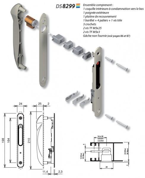 cylindre pour baie coulissant la croisee ds 9430 3 cles quincaillerie clefor serrures cl s. Black Bedroom Furniture Sets. Home Design Ideas