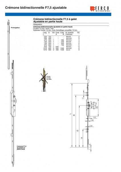 Cremone Serrure Fenetre G20461 G 20461 G 13444