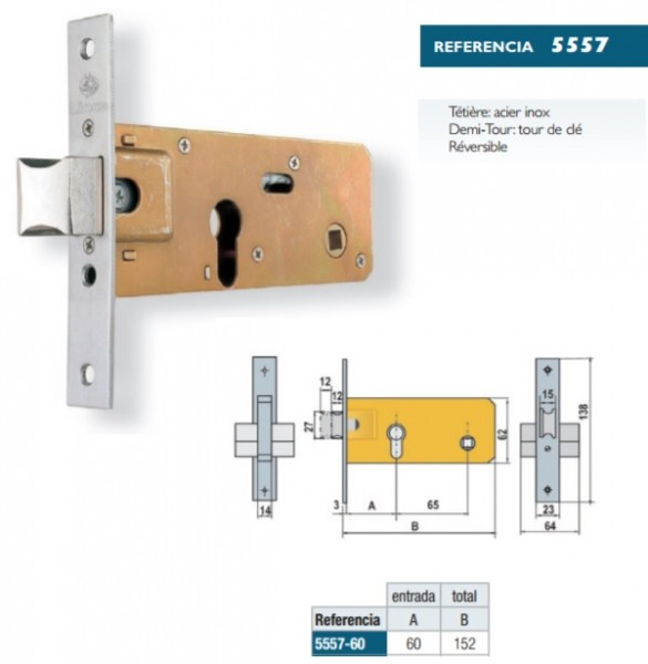 serrure horizontale encastree feb corni cisa lince 5557 axe 60. Black Bedroom Furniture Sets. Home Design Ideas