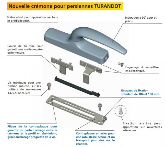 Crémone Turandot Pour Persienne Quincaillerie Clefor Serrures Clés