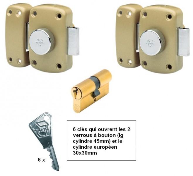 ensemble 2 verrous bouton vachette cylindre 30x30 m mes cl s quincaillerie clefor serrures. Black Bedroom Furniture Sets. Home Design Ideas