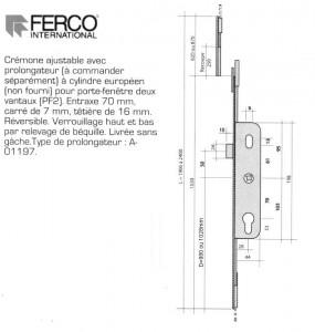 Cremone ferco gu g22663 15 0 1 devient g 24485 15 l 1 for Barillet porte fenetre pvc
