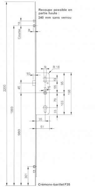cremone larder serie 2 galets quincaillerie clefor serrures cl s. Black Bedroom Furniture Sets. Home Design Ideas